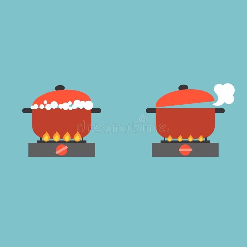 Kochender Topf auf Ofen mit Blase und Dampf lizenzfreie abbildung
