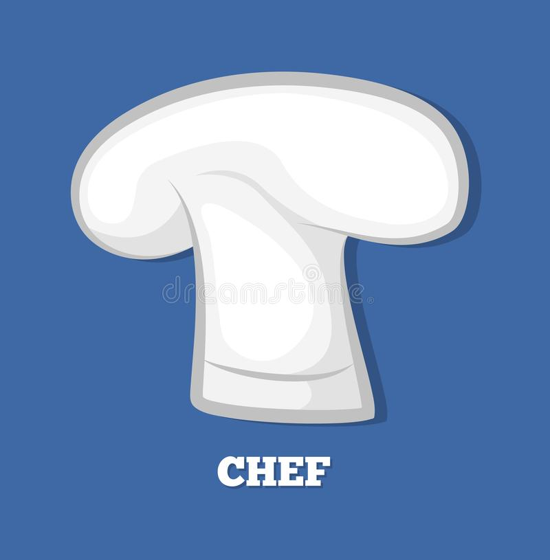 Kocher Chef-Hat Logo Design 3D bedecken weißen Headwear mit einer Kappe vektor abbildung