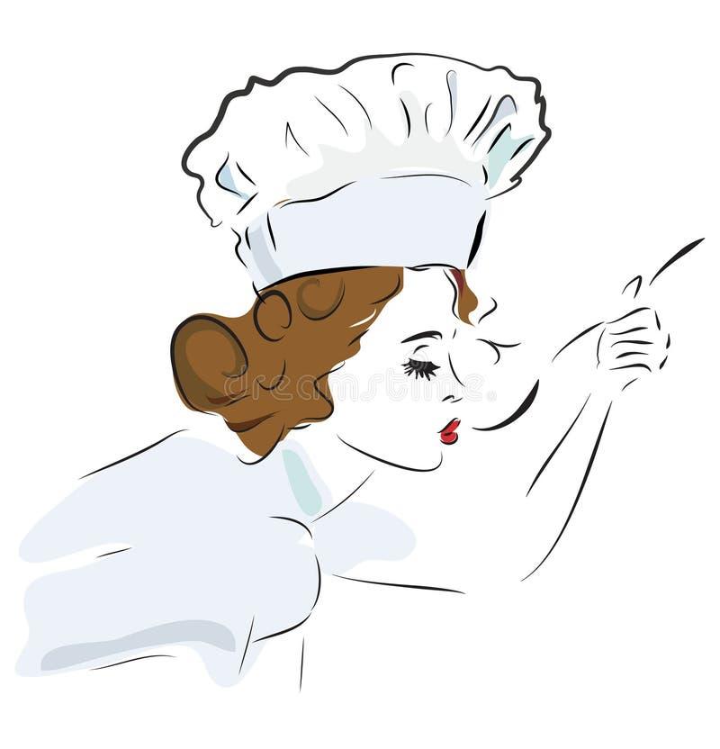 Kocher, der ihre Suppe schmeckt stock abbildung