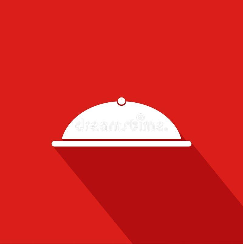 Kocher-flache Ikone mit rotem Hintergrund stock abbildung
