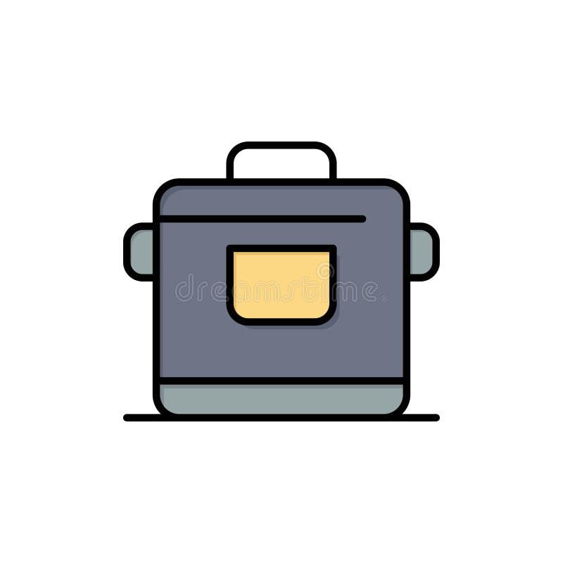 Kocher, Küche, Reis, Hotel-flache Farbikone Vektorikonen-Fahne Schablone lizenzfreie abbildung