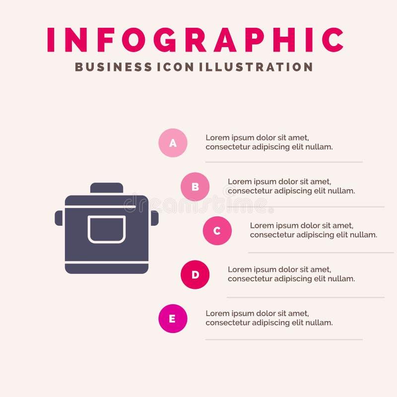 Kocher, Küche, Reis, Hotel Infographics-Darstellungs-Schablone 5 Schritt-Darstellung stock abbildung
