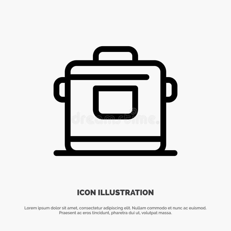 Kocher, Küche, Reis, Hotel-Vektor-Linie Ikone vektor abbildung