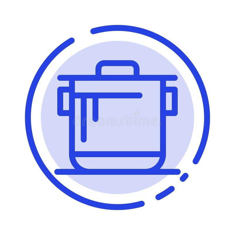 Kocher, Küche, Reis, Koch-Blue Dotted Line-Linie Ikone lizenzfreie abbildung