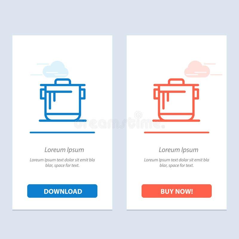 Kocher, Küche, Reis, Koch Blue und rotes Download und Netz Widget-Karten-Schablone jetzt kaufen lizenzfreie abbildung