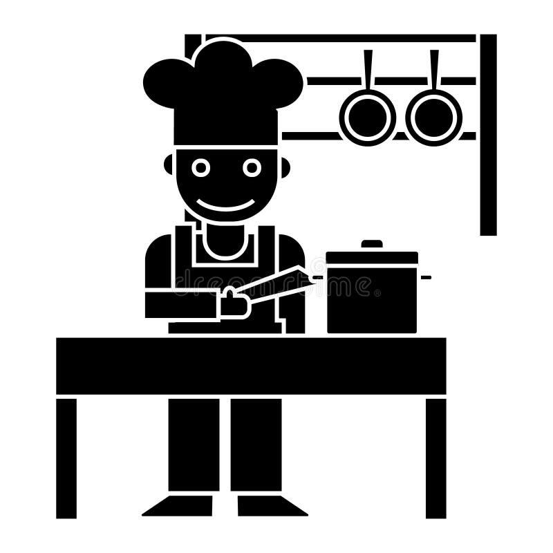 Kocher - Küchenrestaurantikone, Vektorillustration, schwarzes Zeichen auf lokalisiertem Hintergrund lizenzfreie abbildung