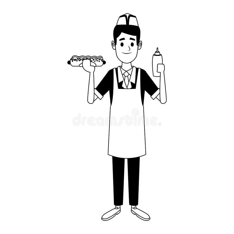 Kocher mit Würstchen und Ketschup in Schwarzweiss stock abbildung