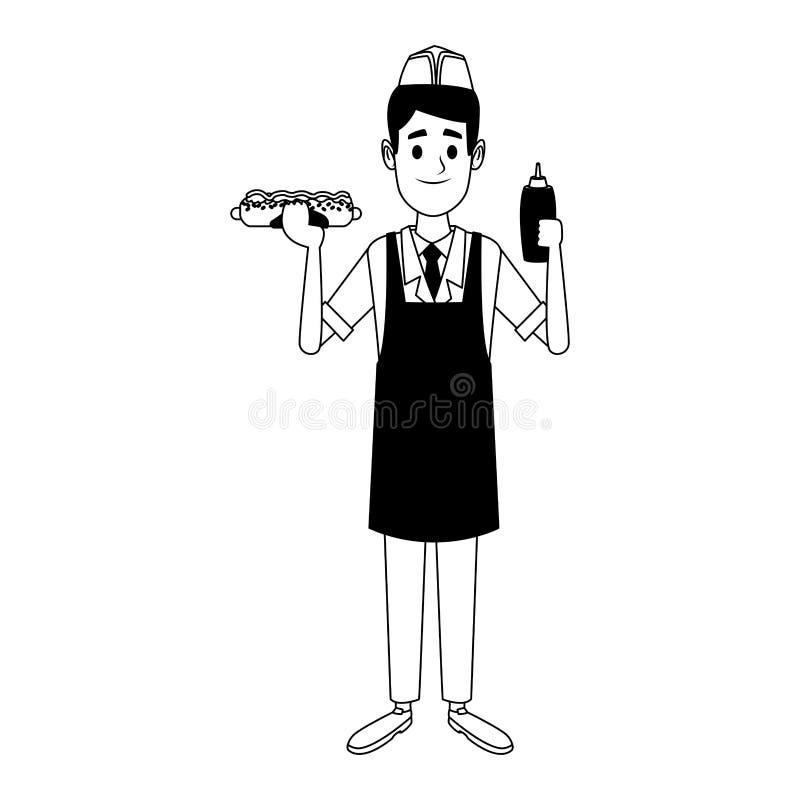 Kocher mit Würstchen und Ketschup in Schwarzweiss vektor abbildung