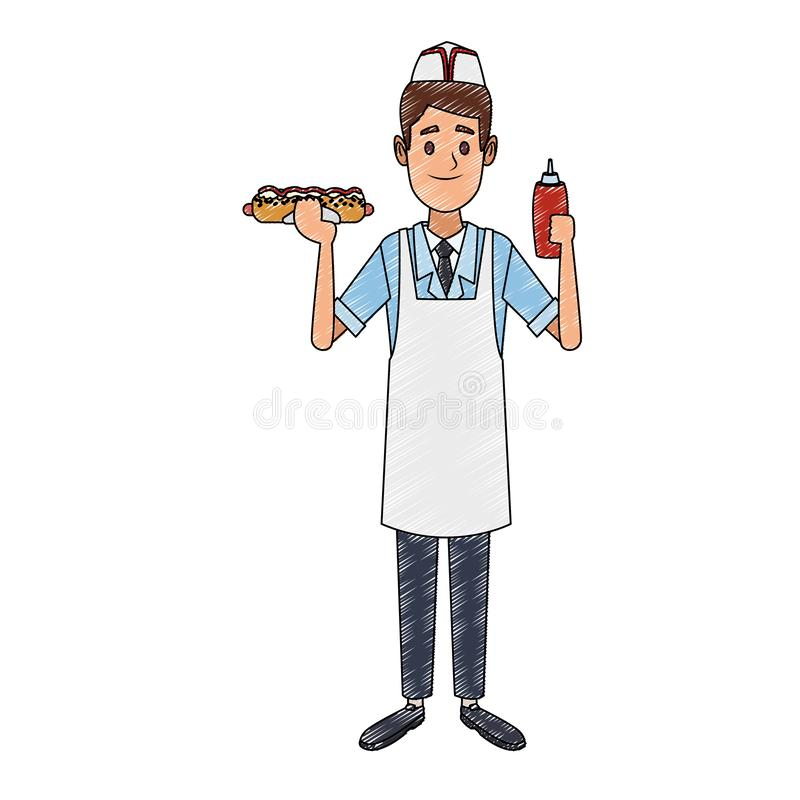 Kocher mit Würstchen- und Ketschupgekritzel stock abbildung