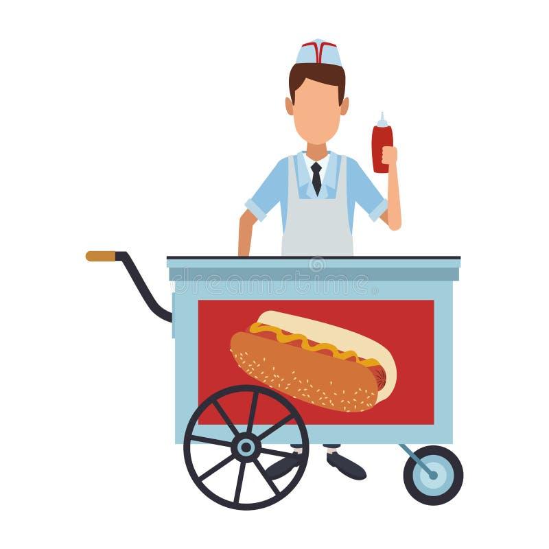 Kocher mit Würstchenstand lizenzfreie abbildung