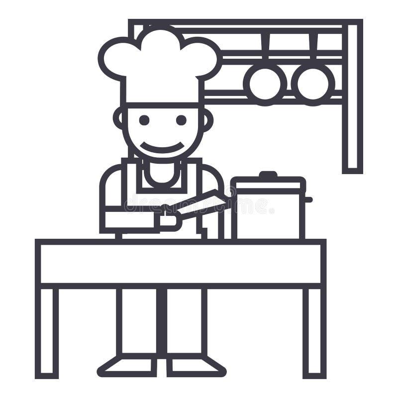 Kocher, shef, Küche, Restaurantvektorlinie Ikone, Zeichen, Illustration auf Hintergrund, editable Anschläge stock abbildung