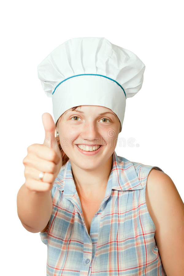 Kochfrau mit dem Daumen oben stockbild