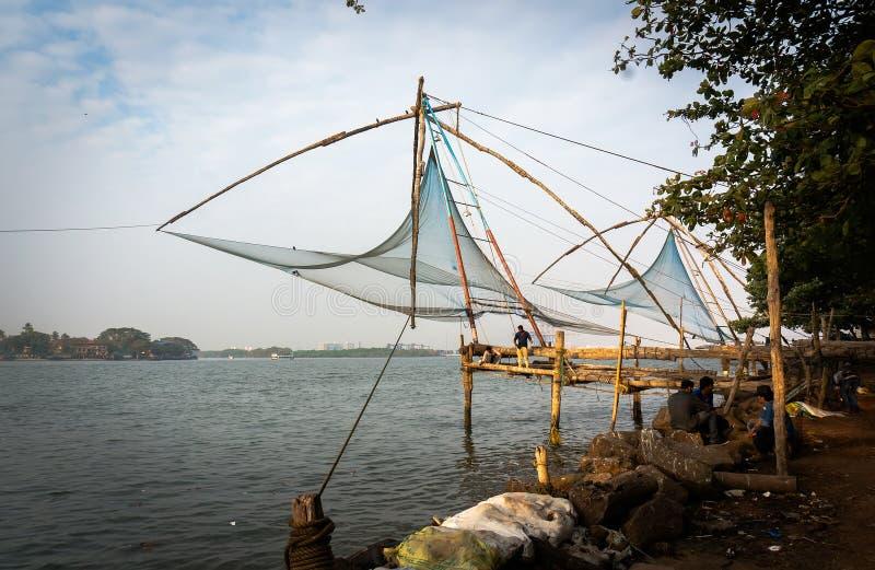 Kochi, Керала, Индия - 2017 - рыболовные сети в символе Cochin стоковое фото rf