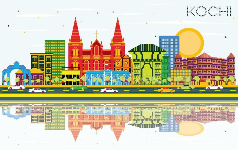 Kochi India City Skyline with Color Buildings, Blue Sky and Reflections. Vector Illustration. Business Travel and Tourism Concept with Historic Architecture stock illustration