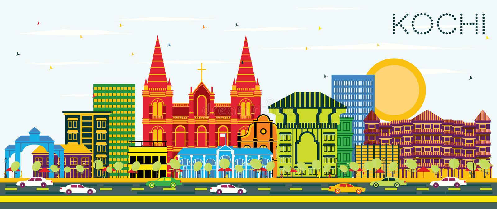 Kochi India City Skyline with Color Buildings and Blue Sky. Vector Illustration. Business Travel and Tourism Concept with Historic Architecture. Kochi vector illustration