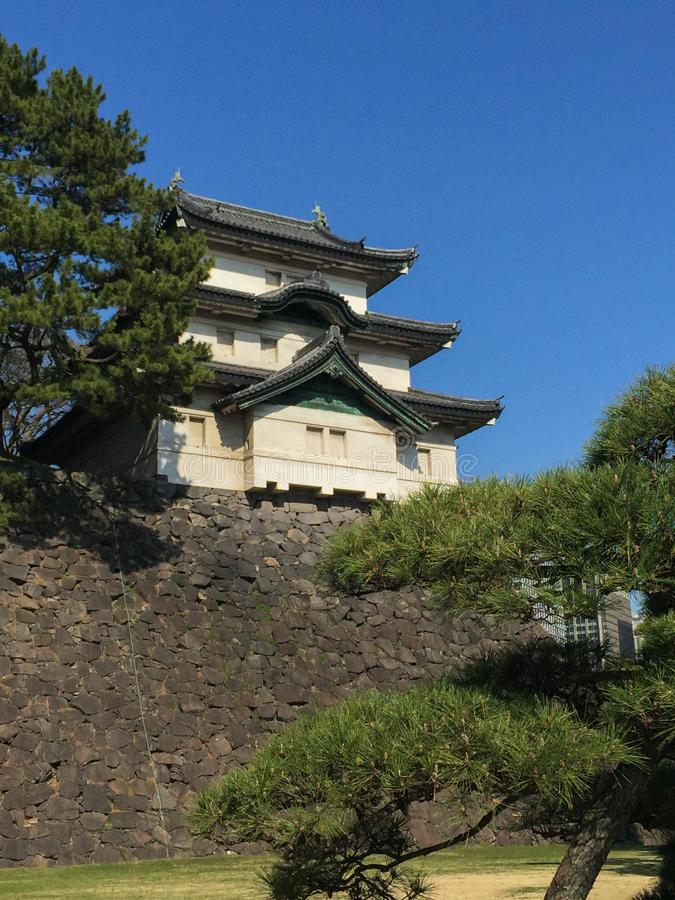 Kochi, Japan - Maart 26, 2015: Algemene mening van Kochi-Kasteel binnen stock afbeelding