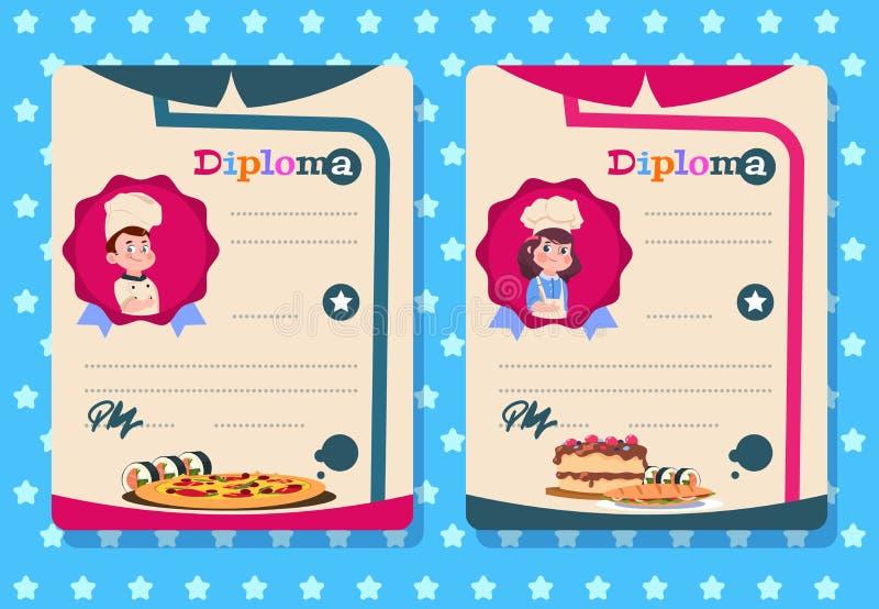 Kochkursdiplom Junges Mädchen und Junge kochen Kind mit Schutzblech, Küchenklassenvektor-Zertifikatschablonen lizenzfreie abbildung