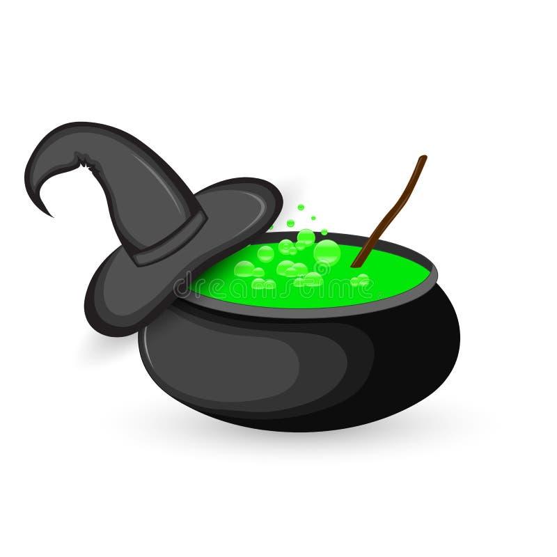 kocioł gotowanie zieleni napój miłosny dla Halloween ilustracji