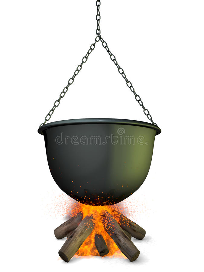 Kocioł na ogieniu ilustracji