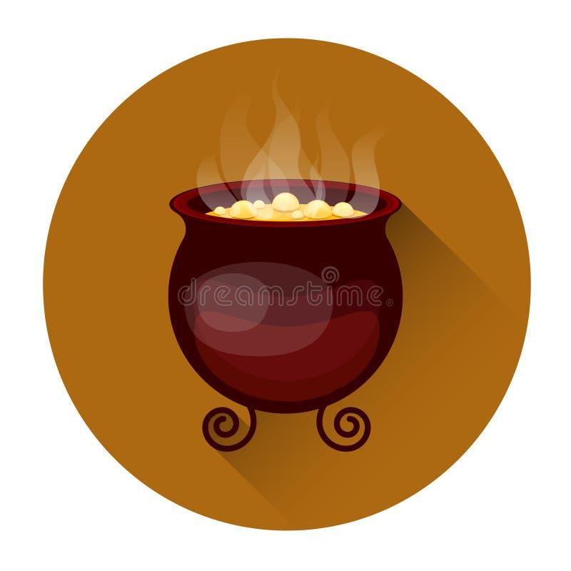 Kocioł Z Wrzącego napoju miłosnego Halloweenową Wakacyjną ikoną royalty ilustracja