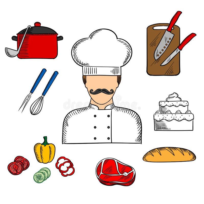Kock eller kock med mat och kitchenware stock illustrationer