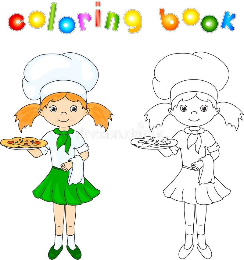 Kock eller uppassare i hennes gröna likformig med pizza för färgläggningdiagram för bok färgrik illustration royaltyfri illustrationer
