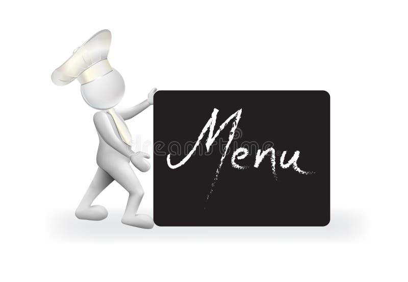 kock för man 3D med en bild för vektor för logo för svart tavlamenytecken stock illustrationer
