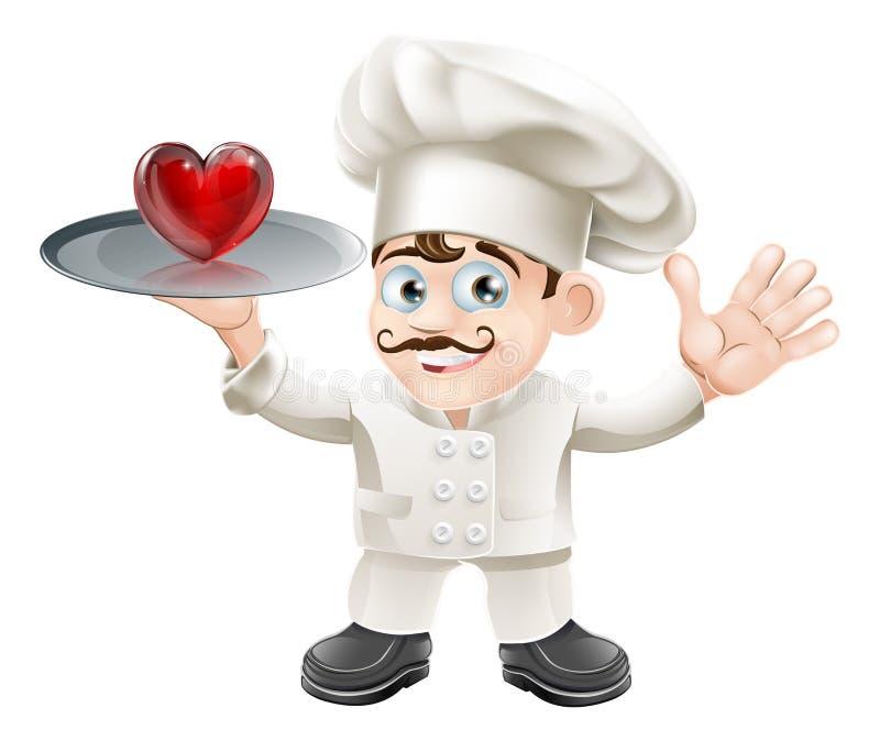 Kock för matvänhjärta royaltyfri illustrationer