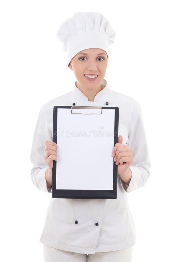 Kock för ung kvinna i enhetlig hållande skrivplatta med tomt papper I royaltyfri foto