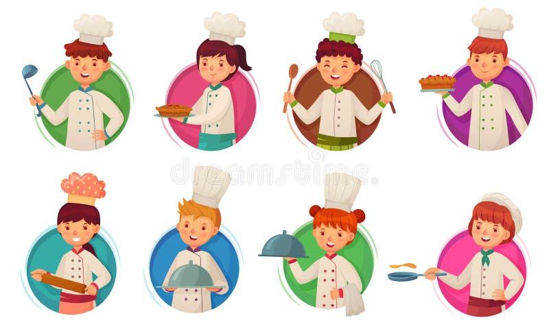 Kock f?r liten unge Barn som lagar mat, ungekockar i cirkelram och barnkockar i rund illustration för håltecknad filmvektor stock illustrationer