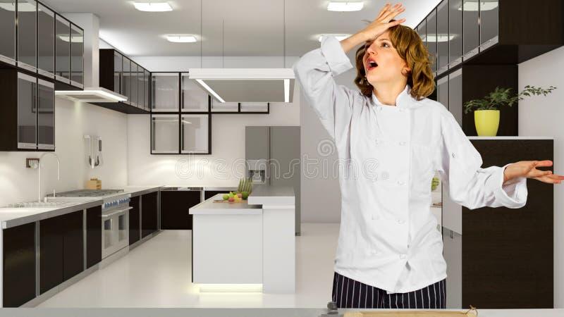 Kock i ett kök arkivbild