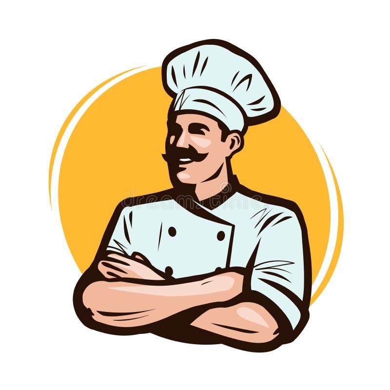Kock, kocklogo eller etikett Restaurangbegrepp den främmande tecknad filmkatten flyr illustrationtakvektorn stock illustrationer