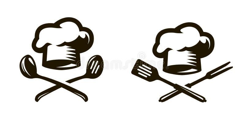 Kock, kocklogo eller symbol Etiketter för menyn av restaurangen eller kafét color vektorn för det set symbolet för flamman stock illustrationer