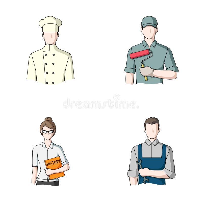 Kock målare, lärare, låssmedmekaniker Fastställda samlingssymboler för yrke i materiel för symbol för tecknad filmstilvektor royaltyfri illustrationer