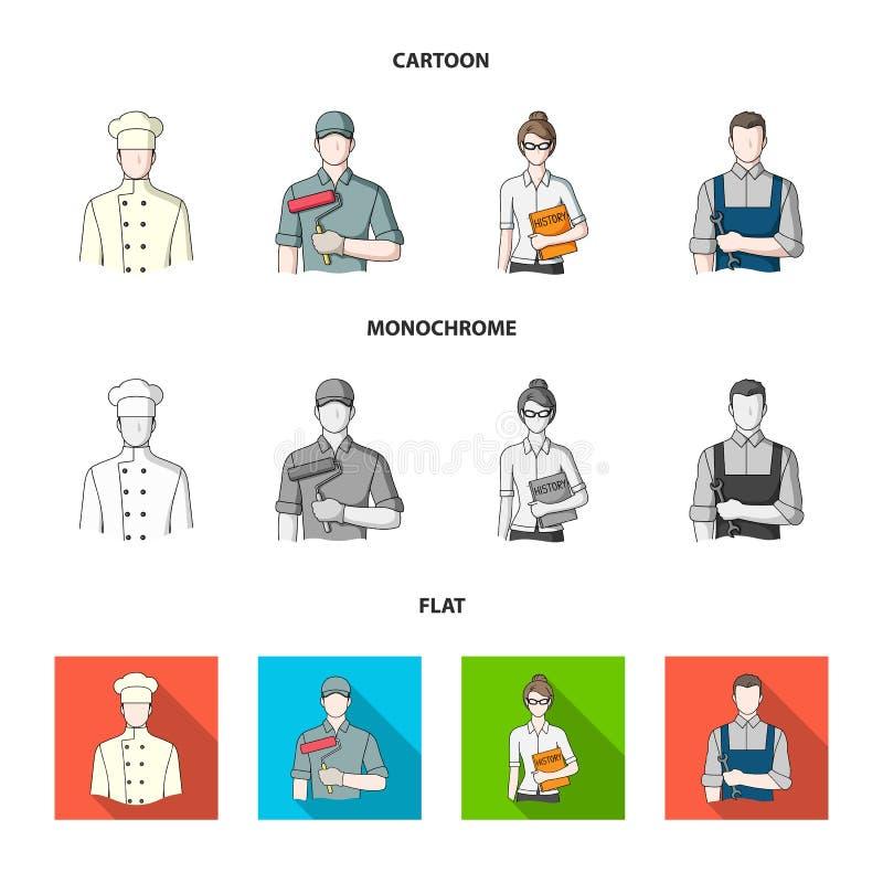 Kock målare, lärare, låssmedmekaniker Fastställda samlingssymboler för yrke i tecknade filmen, lägenhet, monokrom stilvektor vektor illustrationer