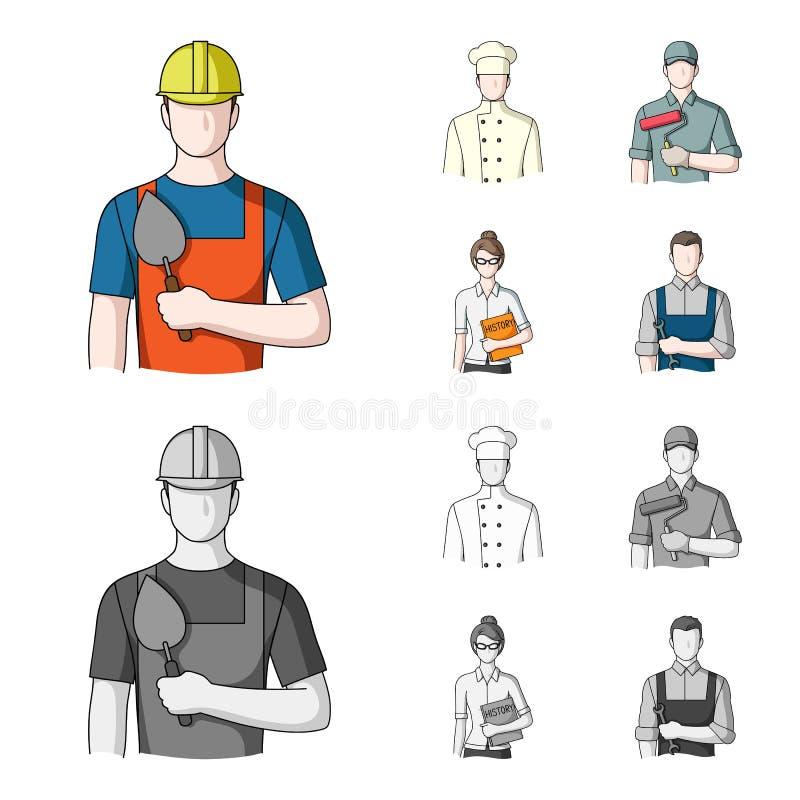 Kock målare, lärare, låssmedmekaniker Fastställda samlingssymboler för yrke i tecknade filmen, monokromt stilvektorsymbol stock illustrationer
