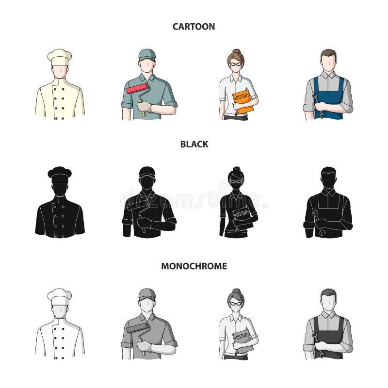Kock målare, lärare, låssmedmekaniker Fastställda samlingssymboler för yrke i tecknade filmen, svart, monokrom stilvektor royaltyfri illustrationer