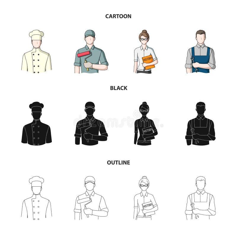 Kock målare, lärare, låssmedmekaniker Fastställda samlingssymboler för yrke i tecknade filmen, svart, symbol för översiktsstilvek royaltyfri illustrationer