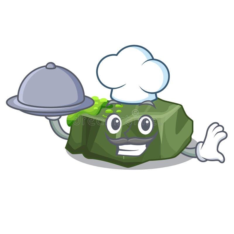 Kock med den stora stenen för mattecknad film som täckas med grön mossa vektor illustrationer
