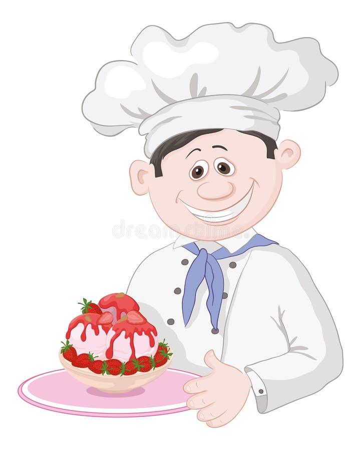 Kock med glass och jordgubbar stock illustrationer