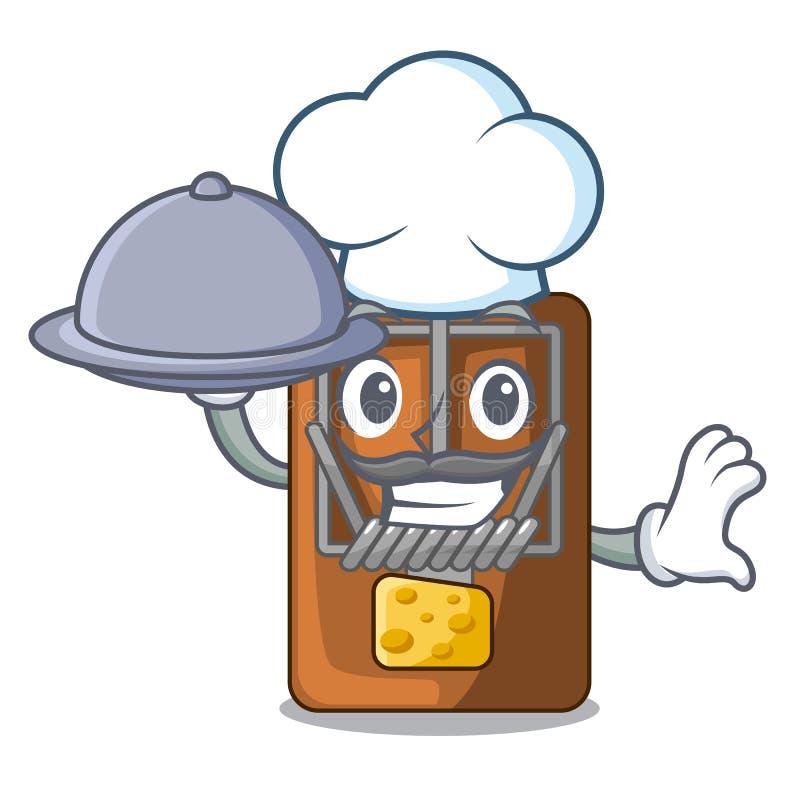 Kock med matråttfällan som isoleras med i tecknade filmen stock illustrationer