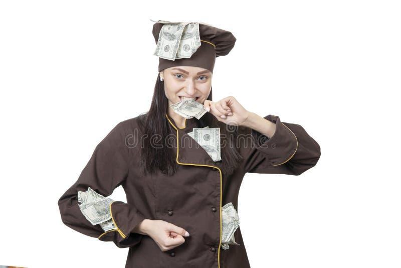 Kock med pengar i hans mun royaltyfria foton