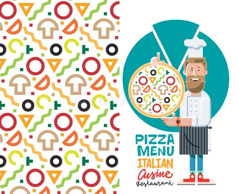 Kock med pizza- och menyvektorillustrationen som isoleras på vit bakgrund Plan stil royaltyfria bilder