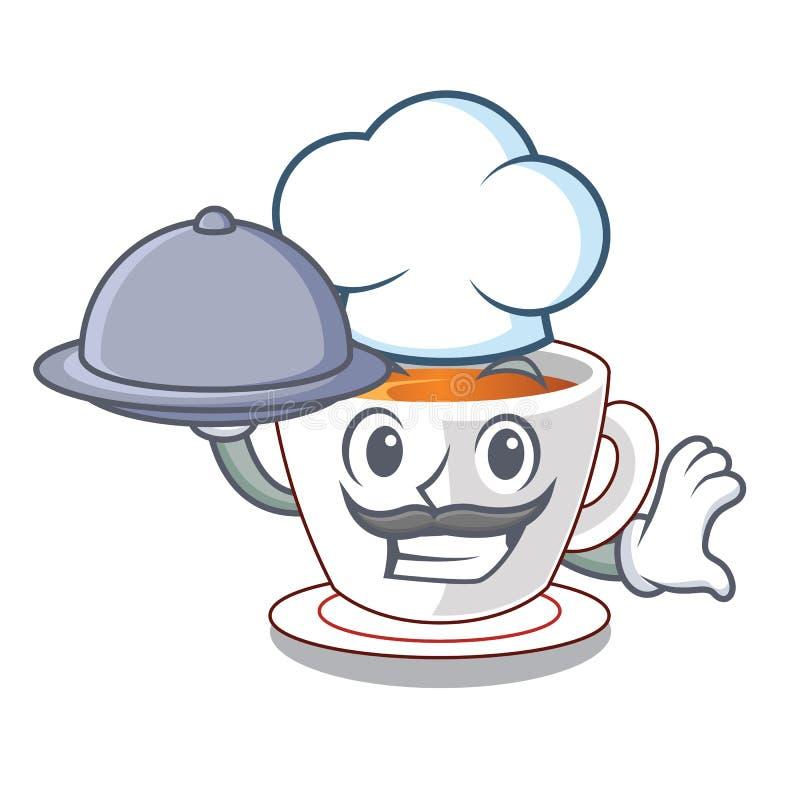 Kock med te för matkoppmintkaramell som isoleras med teckenet stock illustrationer