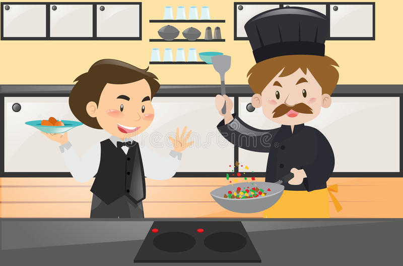 Kock och uppassare i köket stock illustrationer