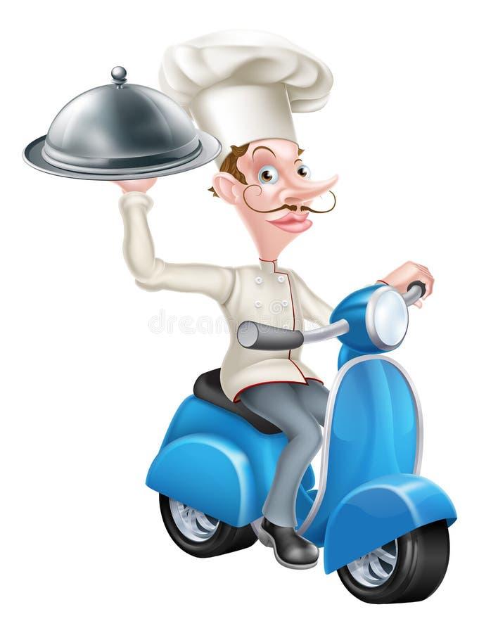 Kock på den var nedstämd sparkcykeln leverera mat royaltyfri illustrationer
