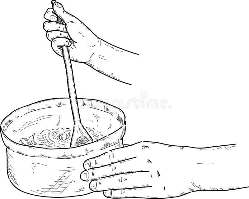 Kock som blandar en bunke vektor illustrationer