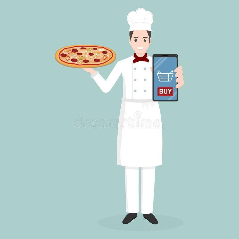 Kock som rymmer begrepp för leverans för pizzasymbolsett online-mat stock illustrationer