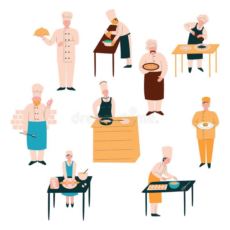 Kockar i enhetlig förberedande och tjänande som disk uppsättning, man och kvinnliga kockar som lagar mat i kökvektorillustration vektor illustrationer