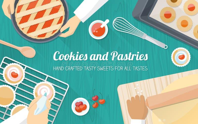 Kockar på arbete i köket vektor illustrationer